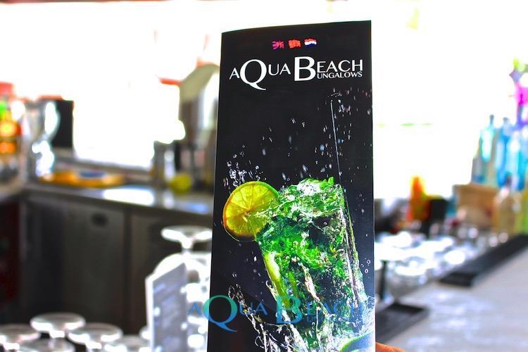 Aqua Beach Bungalows menu.