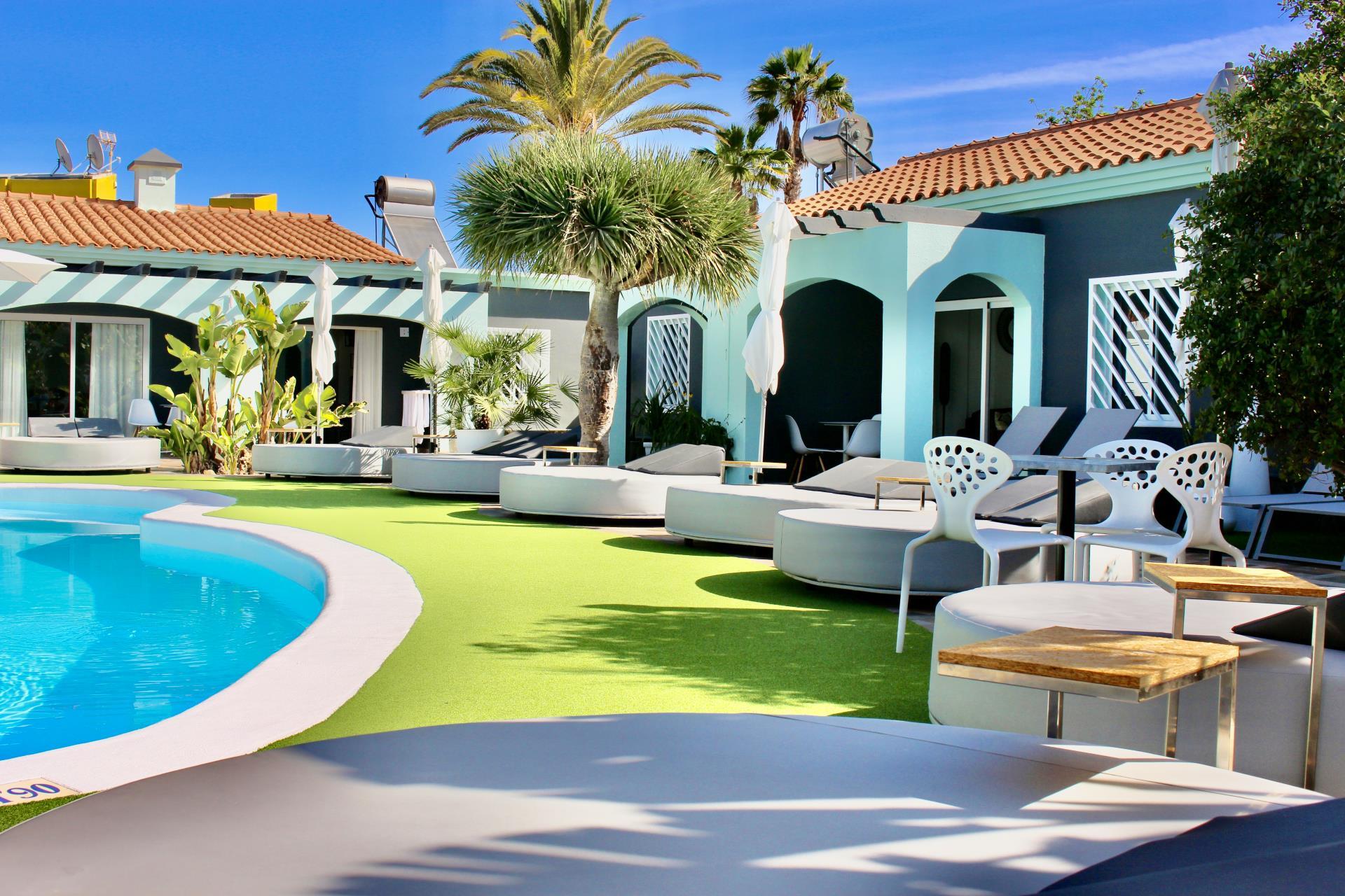 De Ligweide van Naturisten hotel Artika Natura Maspalomas in Gran Canaria